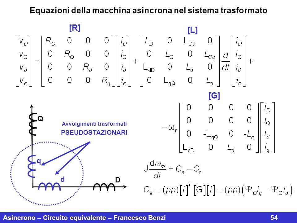 Asincrono – Circuito equivalente – Francesco Benzi54 Equazioni della macchina asincrona nel sistema trasformato D Q q d Avvolgimenti trasformati PSEUD