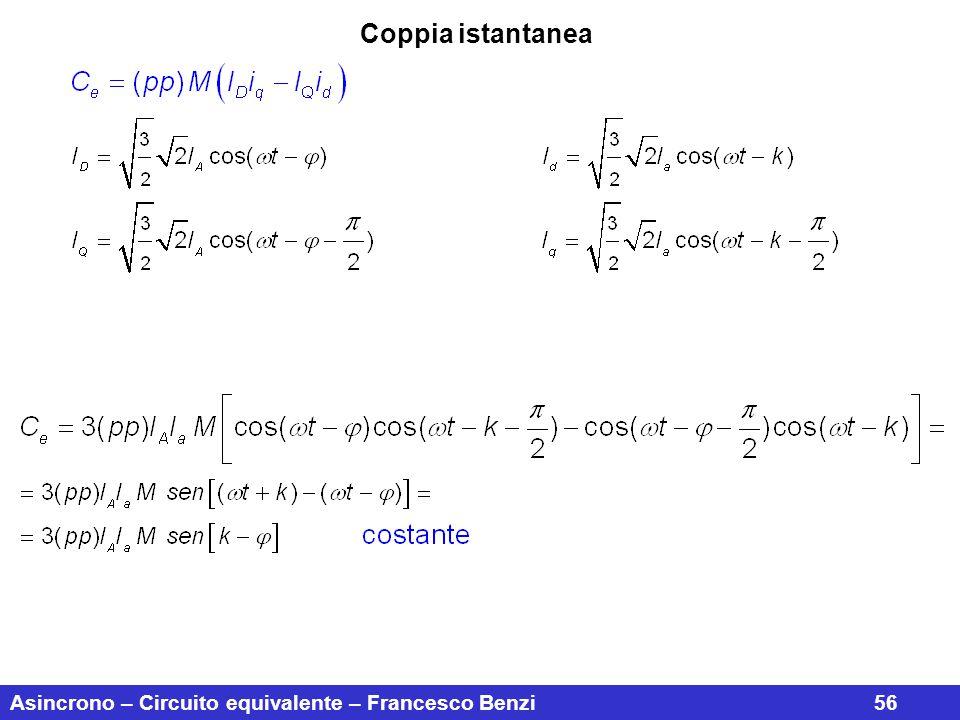 Asincrono – Circuito equivalente – Francesco Benzi56 Coppia istantanea
