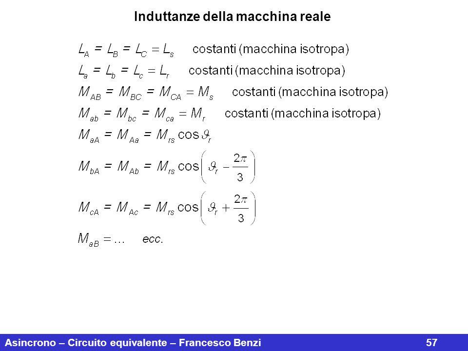 Asincrono – Circuito equivalente – Francesco Benzi57 Induttanze della macchina reale