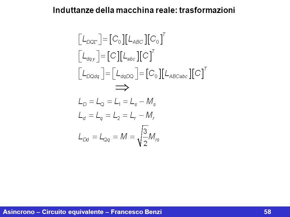 Asincrono – Circuito equivalente – Francesco Benzi58 Induttanze della macchina reale: trasformazioni