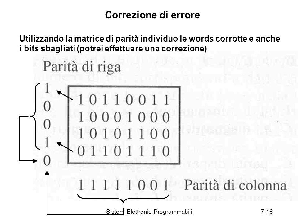 Sistemi Elettronici Programmabili7-16 Correzione di errore Utilizzando la matrice di parità individuo le words corrotte e anche i bits sbagliati (potrei effettuare una correzione)