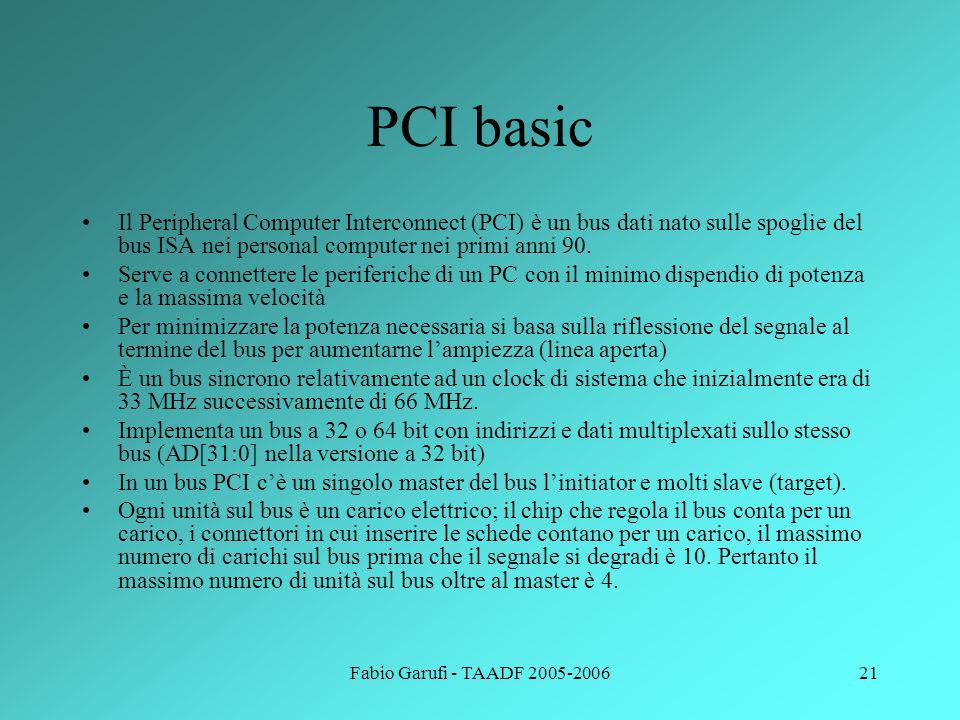 Fabio Garufi - TAADF 2005-200621 PCI basic Il Peripheral Computer Interconnect (PCI) è un bus dati nato sulle spoglie del bus ISA nei personal compute
