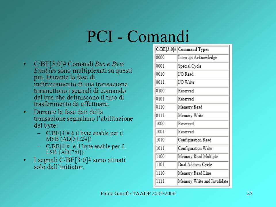 Fabio Garufi - TAADF 2005-200625 PCI - Comandi C/BE[3:0]# Comandi Bus e Byte Enables sono multiplexati su questi pin. Durante la fase di indirizzament