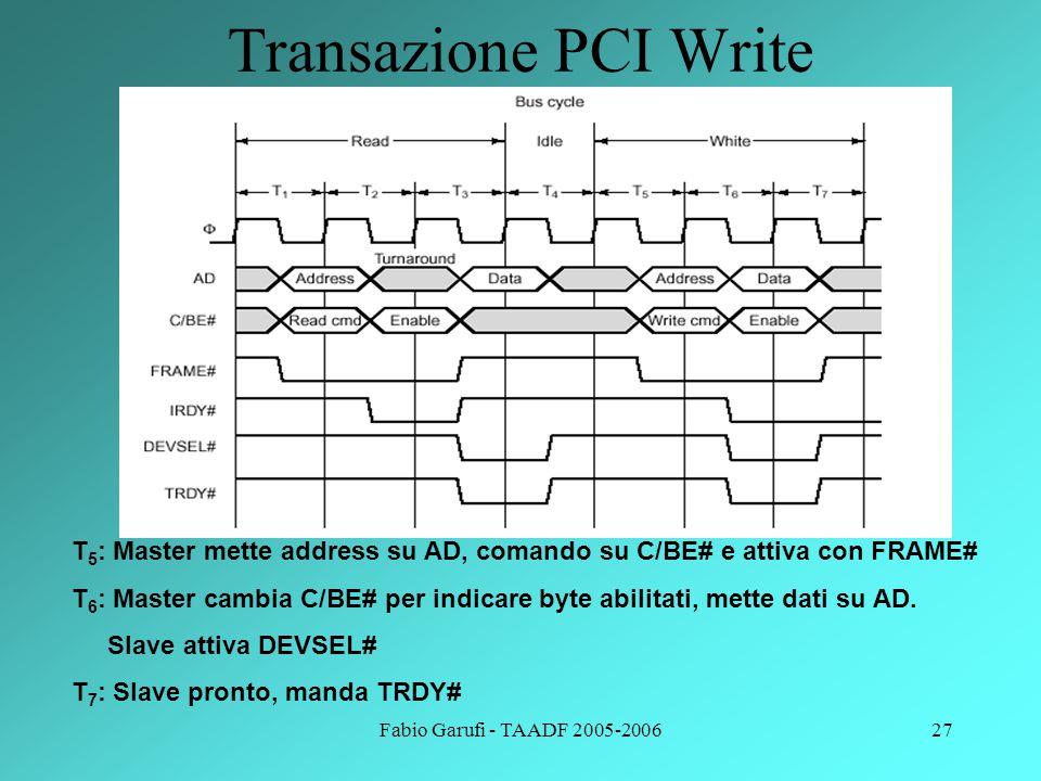 Fabio Garufi - TAADF 2005-200627 Transazione PCI Write T 5 : Master mette address su AD, comando su C/BE# e attiva con FRAME# T 6 : Master cambia C/BE