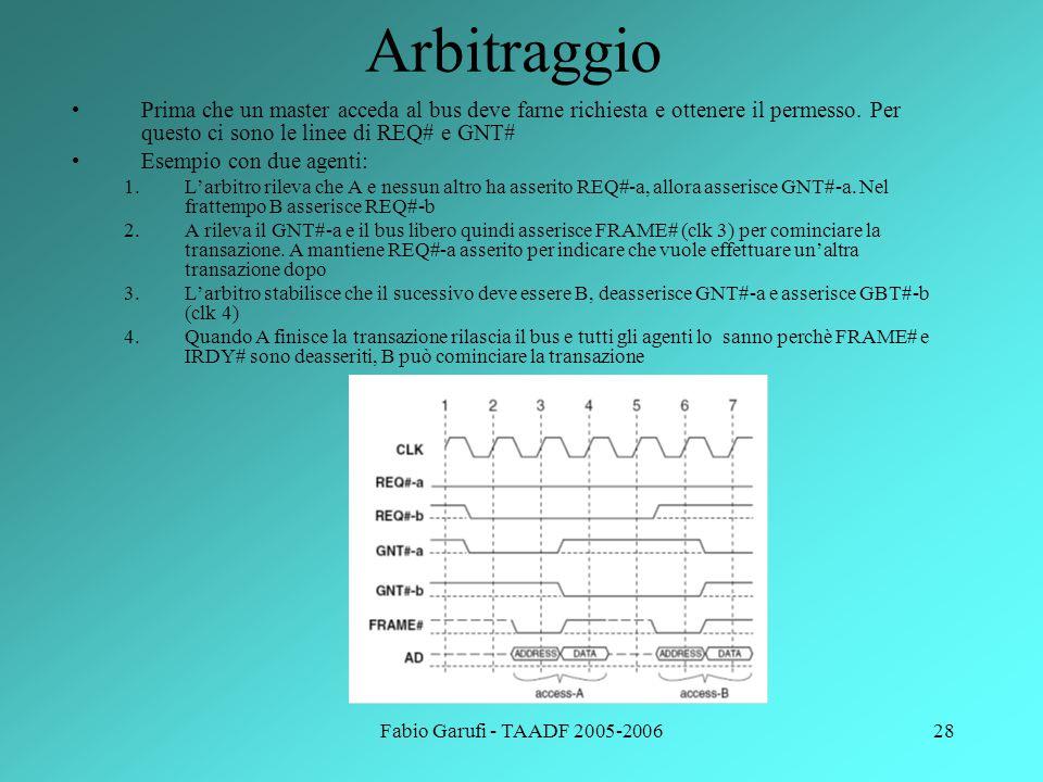 Fabio Garufi - TAADF 2005-200628 Arbitraggio Prima che un master acceda al bus deve farne richiesta e ottenere il permesso. Per questo ci sono le line