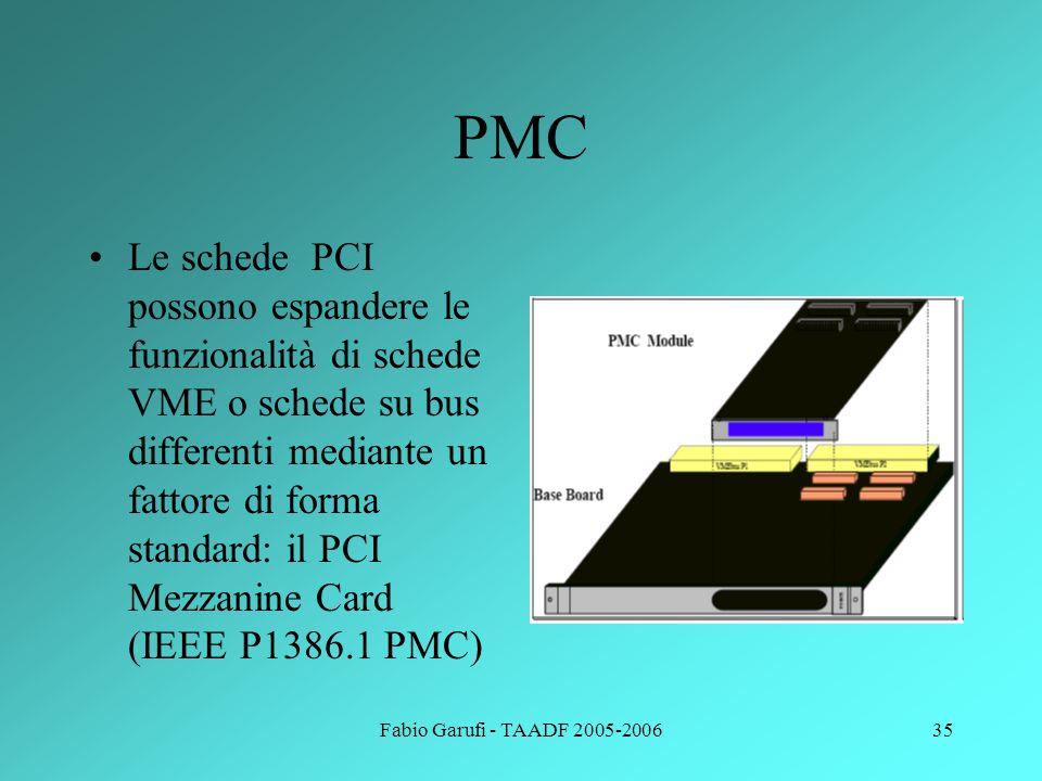 Fabio Garufi - TAADF 2005-200635 PMC Le schede PCI possono espandere le funzionalità di schede VME o schede su bus differenti mediante un fattore di f