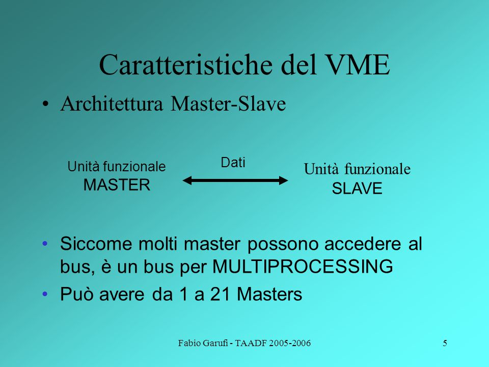 Fabio Garufi - TAADF 2005-20066 Caratteristiche del VME Bus asincrono – non c'è alcun clock centralizzato per la sincronozzazione (usa protocollo di handshaking) MASTERSLAVE Data Address MASTERSLAVE Control signals MASTERSLAVE DTACK Vantaggi?