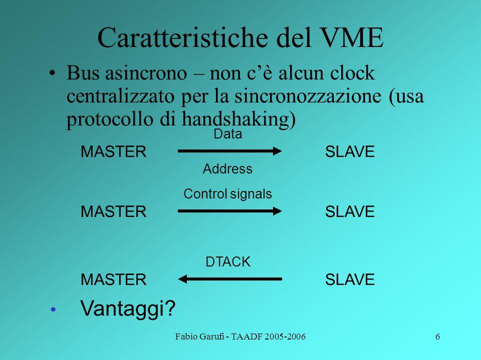 Fabio Garufi - TAADF 2005-20067 Caratteristiche del VME 1 o 2 Connettori a 96 pin su 3 colonne 64 pin a disposizione Alimentazioni a 5 e 12V 4 livelli di arbitraggio 7 livelli di interrupt Indirizzamento e dimensione di dati variabile Clock di sistema a 10MHz