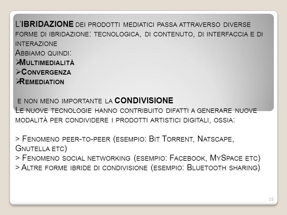 L'IBRIDAZIONE DEI PRODOTTI MEDIATICI PASSA ATTRAVERSO DIVERSE FORME DI IBRIDAZIONE : TECNOLOGICA, DI CONTENUTO, DI INTERFACCIA E DI INTERAZIONE A BBIAMO QUINDI :  M ULTIMEDIALITÀ  C ONVERGENZA  R EMEDIATION E NON MENO IMPORTANTE LA CONDIVISIONE L E NUOVE TECNOLOGIE HANNO CONTRIBUITO DIFATTI A GENERARE NUOVE MODALITÀ PER CONDIVIDERE I PRODOTTI ARTISTICI DIGITALI, OSSIA : > F ENOMENO PEER - TO - PEER ( ESEMPIO : B IT T ORRENT, N ATSCAPE, G NUTELLA ETC ) > F ENOMENO SOCIAL NETWORKING ( ESEMPIO : F ACEBOOK, M Y S PACE ETC ) > A LTRE FORME IBRIDE DI CONDIVISIONE ( ESEMPIO : B LUETOOTH SHARING ) 15