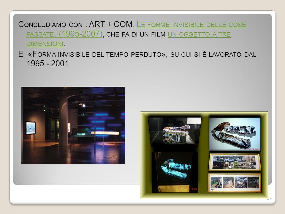 C ONCLUDIAMO CON : ART + COM, L E FORME INVISIBILE DELLE COSE PASSATE. (1995-2007), CHE FA DI UN FILM UN OGGETTO A TRE DIMENSIONI.L E FORME INVISIBILE