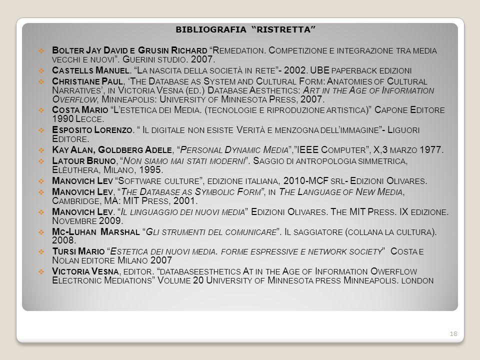 """BIBLIOGRAFIA """"RISTRETTA""""  B OLTER J AY D AVID E G RUSIN R ICHARD """"R EMEDATION. C OMPETIZIONE E INTEGRAZIONE TRA MEDIA VECCHI E NUOVI """". G UERINI STUD"""