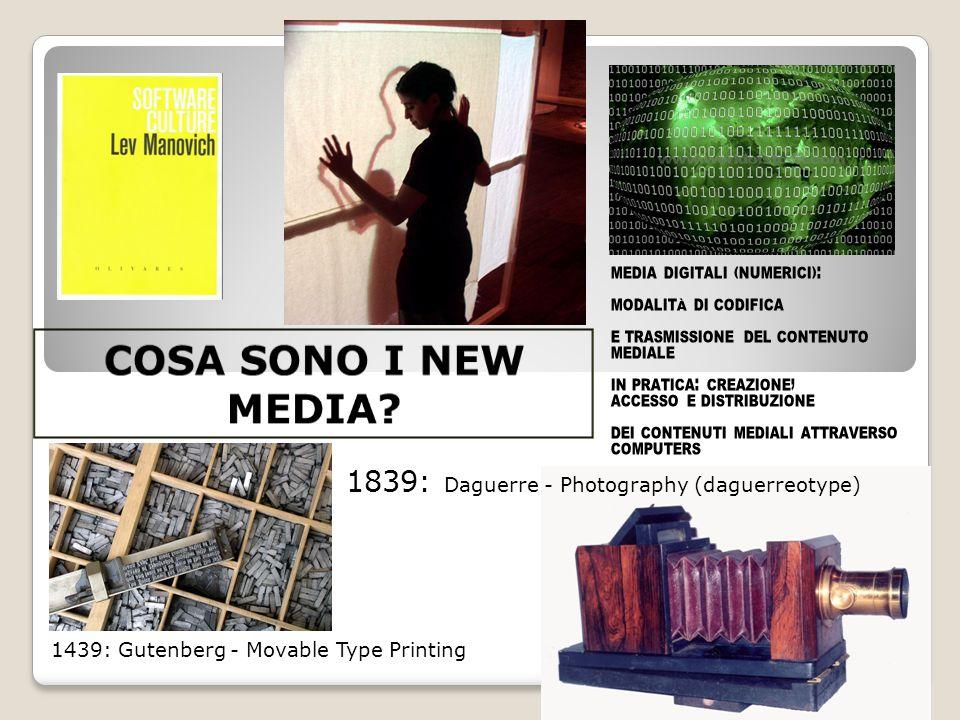 3 1439: Gutenberg - Movable Type Printing 1839: Daguerre - Photography (daguerreotype) MEDIA DIGITALI (NUMERICI): MODALITÀ DI CODIFICA E TRASMISSIONE DEL CONTENUTO MEDIALE IN PRATICA: CREAZIONE, ACCESSO E DISTRIBUZIONE DEI CONTENUTI MEDIALI ATTRAVERSO COMPUTERS