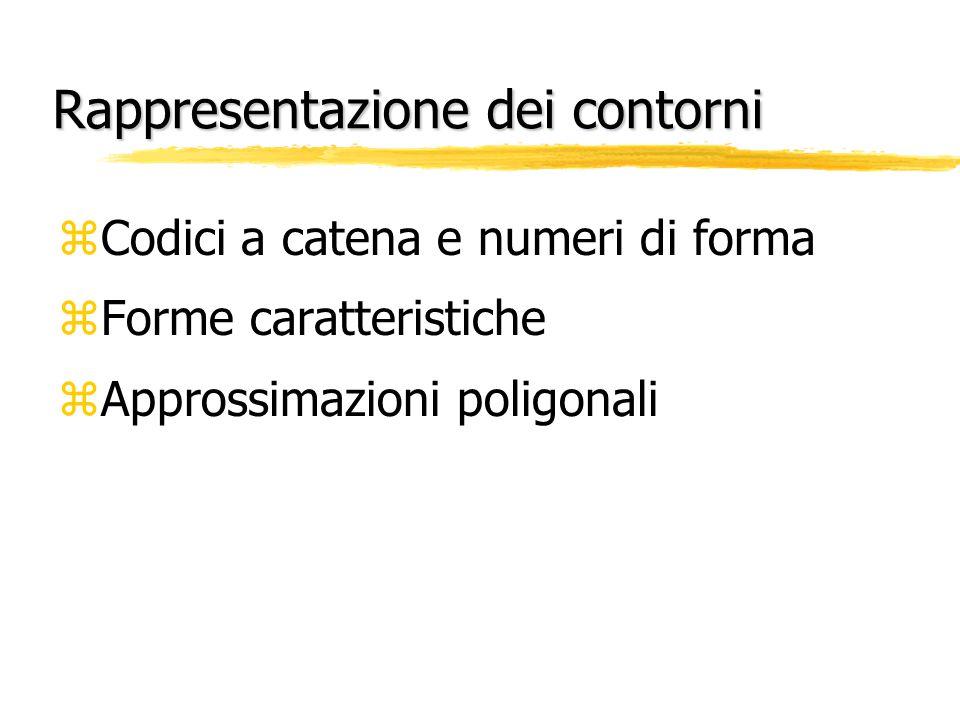 Rappresentazione dei contorni zCodici a catena e numeri di forma zForme caratteristiche zApprossimazioni poligonali
