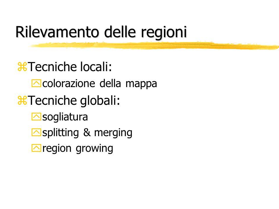 Rilevamento delle regioni zTecniche locali: ycolorazione della mappa zTecniche globali: ysogliatura ysplitting & merging yregion growing