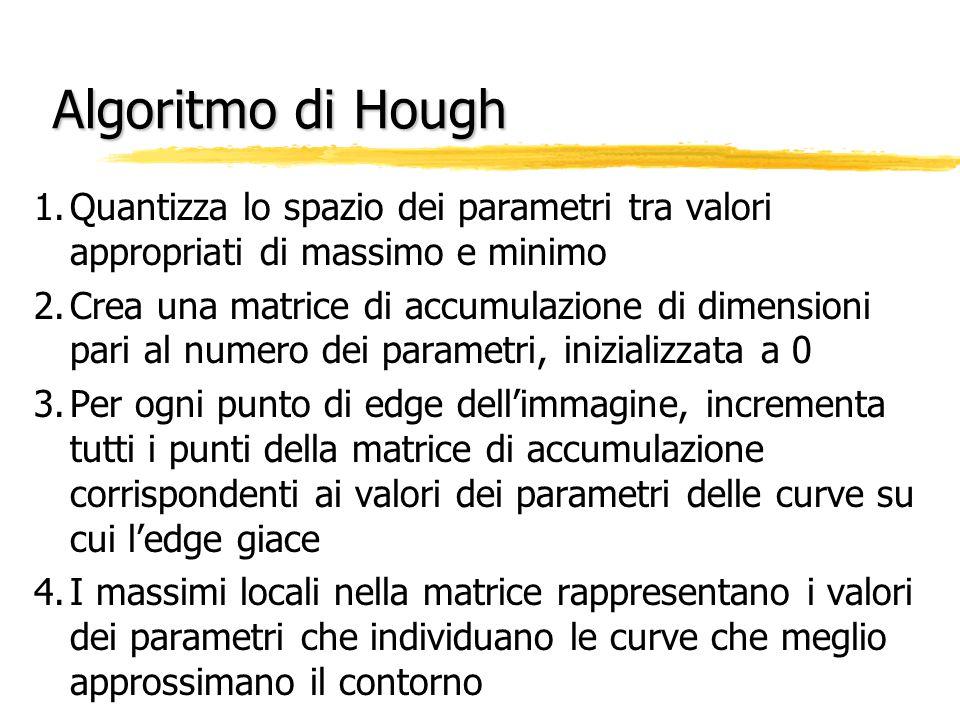Algoritmo di Hough 1.Quantizza lo spazio dei parametri tra valori appropriati di massimo e minimo 2.Crea una matrice di accumulazione di dimensioni pari al numero dei parametri, inizializzata a 0 3.Per ogni punto di edge dell'immagine, incrementa tutti i punti della matrice di accumulazione corrispondenti ai valori dei parametri delle curve su cui l'edge giace 4.I massimi locali nella matrice rappresentano i valori dei parametri che individuano le curve che meglio approssimano il contorno