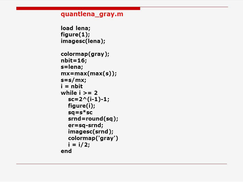 quantlena_gray.m load lena; figure(1); imagesc(lena); colormap(gray); nbit=16; s=lena; mx=max(max(s)); s=s/mx; i = nbit while i >= 2 sc=2^(i-1)-1; figure(i); sq=s*sc srnd=round(sq); er=sq-srnd; imagesc(srnd); colormap( gray ) i = i/2; end