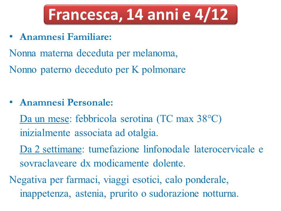 Francesca, 14 anni e 4/12 Anamnesi Familiare: Nonna materna deceduta per melanoma, Nonno paterno deceduto per K polmonare Anamnesi Personale: Da un me
