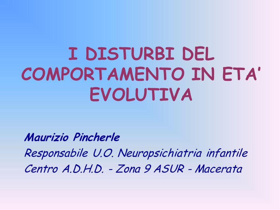 I DISTURBI DEL COMPORTAMENTO IN ETA' EVOLUTIVA Maurizio Pincherle Responsabile U.O.