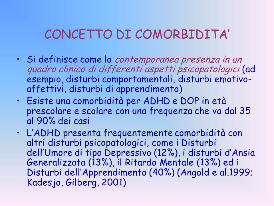 CONCETTO DI COMORBIDITA' Si definisce come la contemporanea presenza in un quadro clinico di differenti aspetti psicopatologici (ad esempio, disturbi comportamentali, disturbi emotivo- affettivi, disturbi di apprendimento) Esiste una comorbidità per ADHD e DOP in età prescolare e scolare con una frequenza che va dal 35 al 90% dei casi L'ADHD presenta frequentemente comorbidità con altri disturbi psicopatologici, come i Disturbi dell'Umore di tipo Depressivo (12%), i disturbi d'Ansia Generalizzata (13%), il Ritardo Mentale (13%) ed i Disturbi dell'Apprendimento (40%) (Angold e al.1999; Kadesjo, Gilberg, 2001)