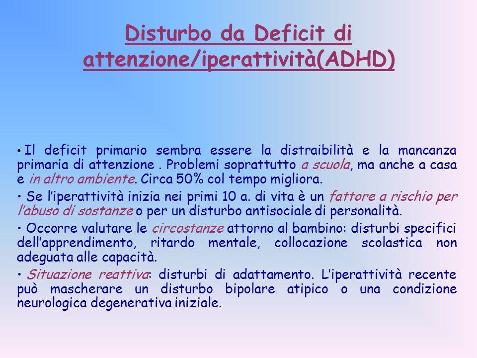 Disturbo da Deficit di attenzione/iperattività(ADHD) Il deficit primario sembra essere la distraibilità e la mancanza primaria di attenzione.
