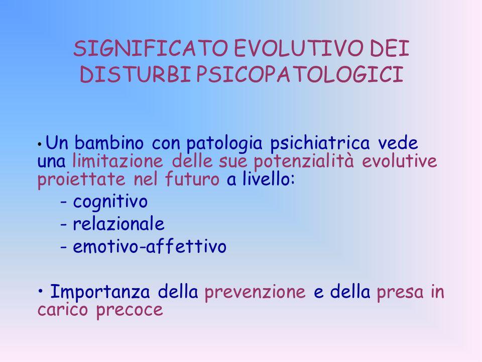 SIGNIFICATO EVOLUTIVO DEI DISTURBI PSICOPATOLOGICI Un bambino con patologia psichiatrica vede una limitazione delle sue potenzialità evolutive proiettate nel futuro a livello: - cognitivo - relazionale - emotivo-affettivo Importanza della prevenzione e della presa in carico precoce
