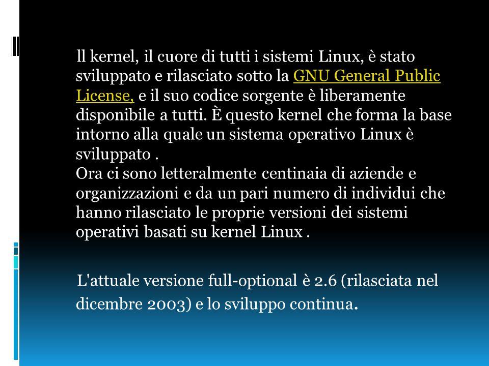 ll kernel, il cuore di tutti i sistemi Linux, è stato sviluppato e rilasciato sotto la GNU General Public License, e il suo codice sorgente è liberamente disponibile a tutti.