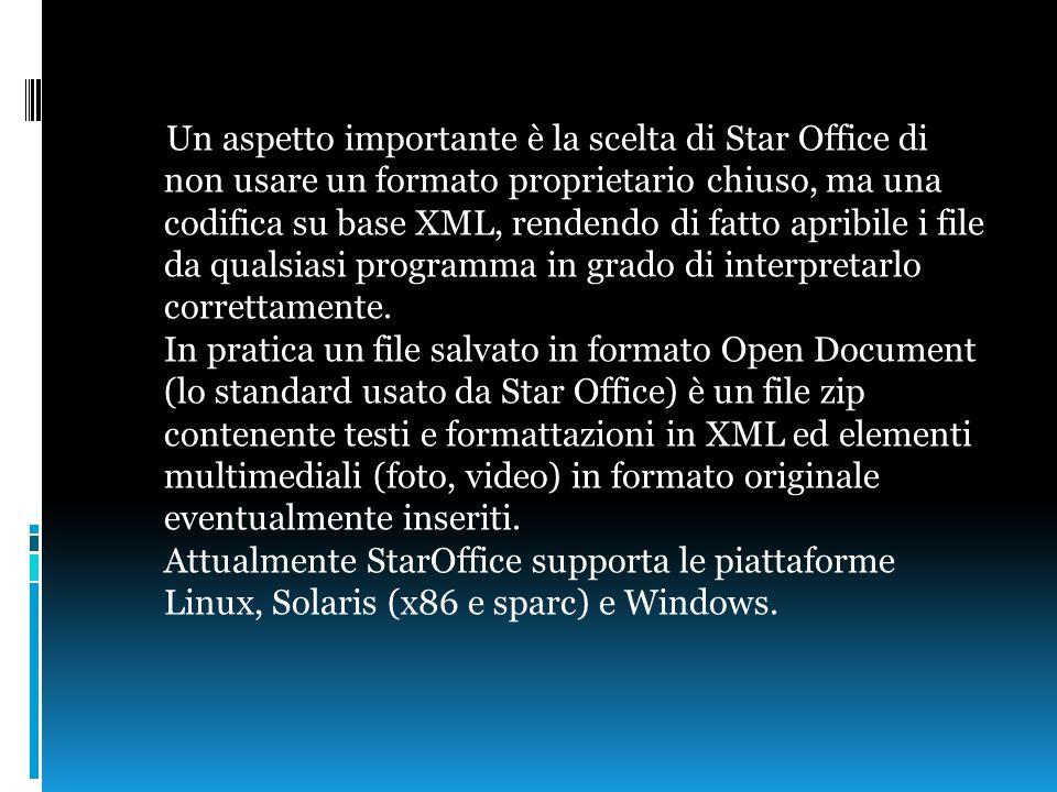 Un aspetto importante è la scelta di Star Office di non usare un formato proprietario chiuso, ma una codifica su base XML, rendendo di fatto apribile i file da qualsiasi programma in grado di interpretarlo correttamente.