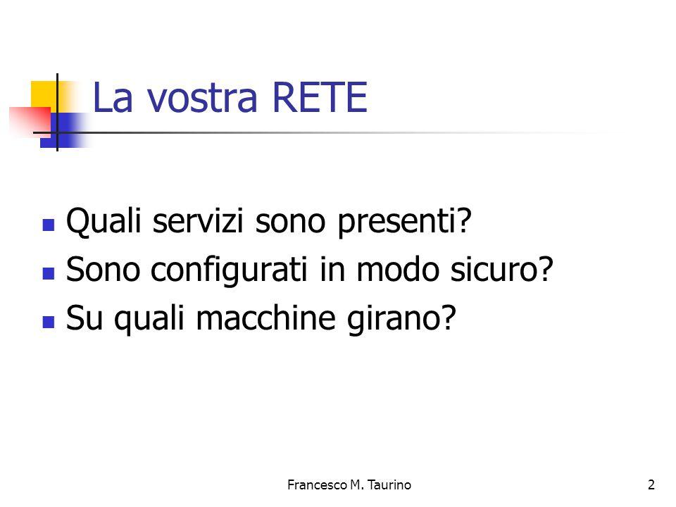 Francesco M.Taurino 2 La vostra RETE Quali servizi sono presenti.