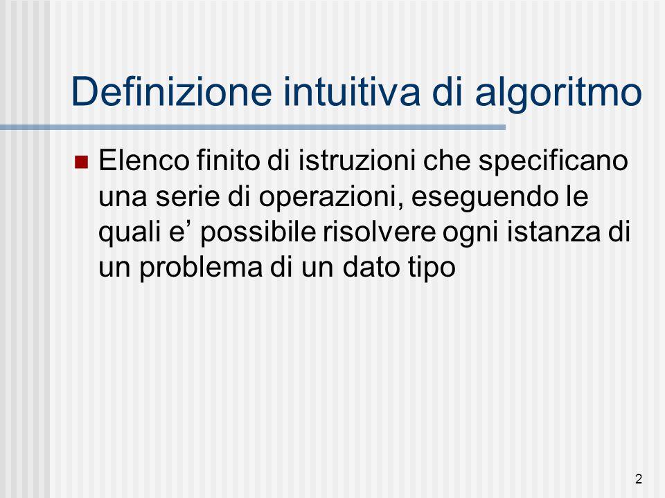 2 Definizione intuitiva di algoritmo Elenco finito di istruzioni che specificano una serie di operazioni, eseguendo le quali e' possibile risolvere ogni istanza di un problema di un dato tipo