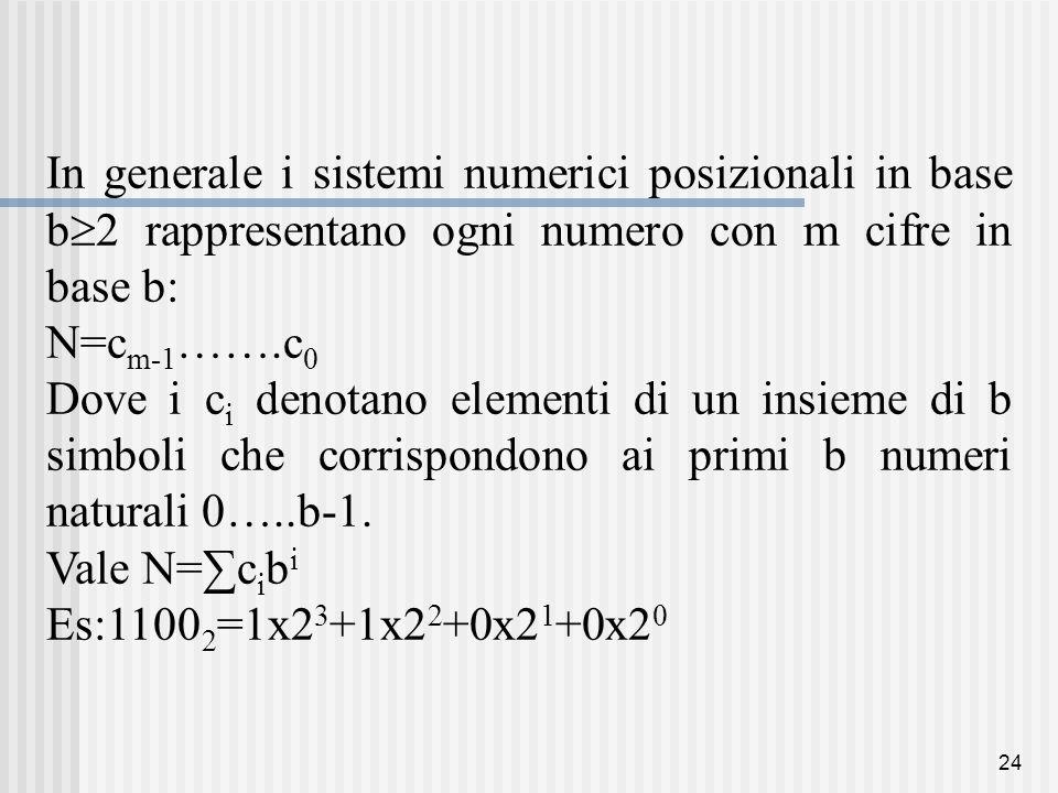 24 In generale i sistemi numerici posizionali in base b  2 rappresentano ogni numero con m cifre in base b: N=c m-1 …….c 0 Dove i c i denotano elementi di un insieme di b simboli che corrispondono ai primi b numeri naturali 0…..b-1.