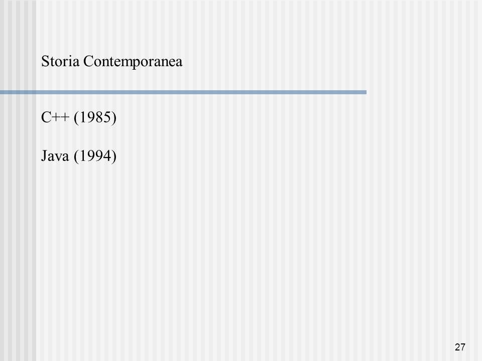 27 Storia Contemporanea C++ (1985) Java (1994)