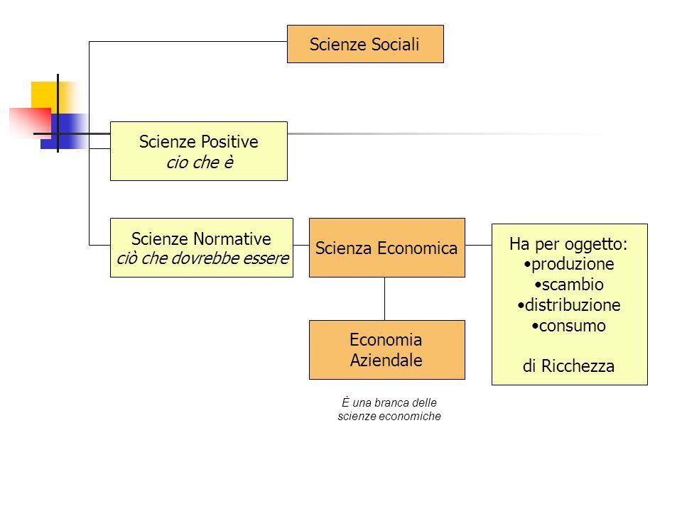 Scienze Sociali Scienze Positive cio che è Scienze Normative ciò che dovrebbe essere Scienza Economica Economia Aziendale Ha per oggetto: produzione s