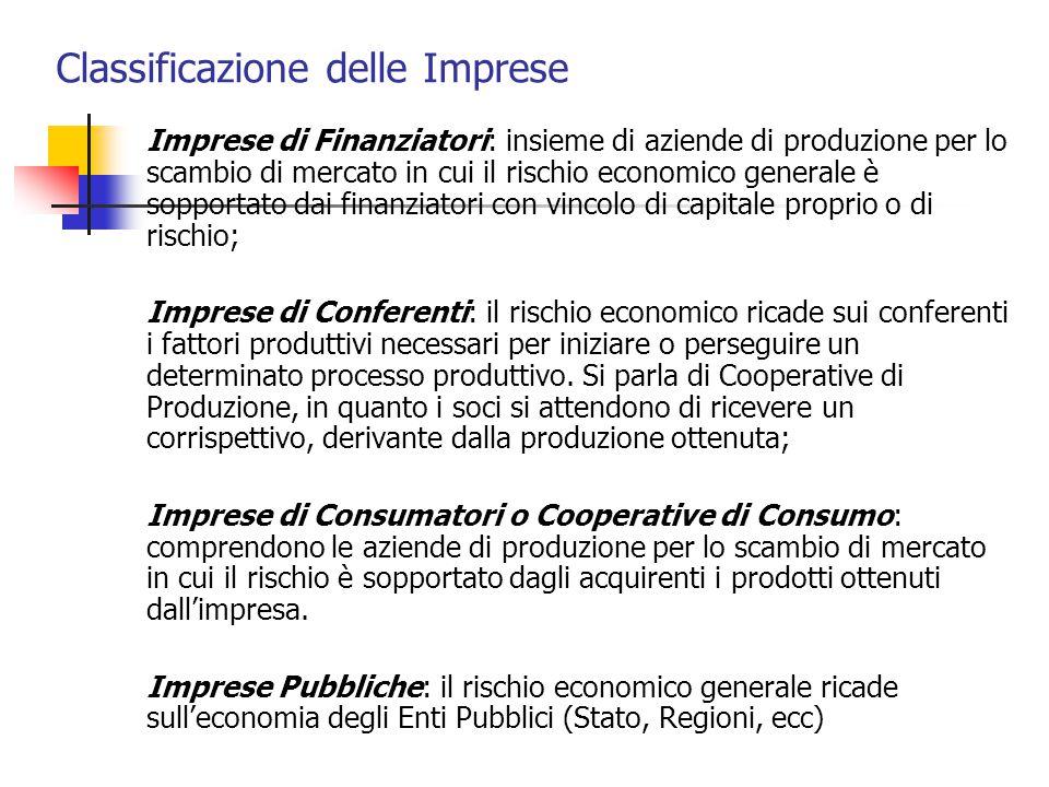Classificazione delle Imprese Imprese di Finanziatori: insieme di aziende di produzione per lo scambio di mercato in cui il rischio economico generale
