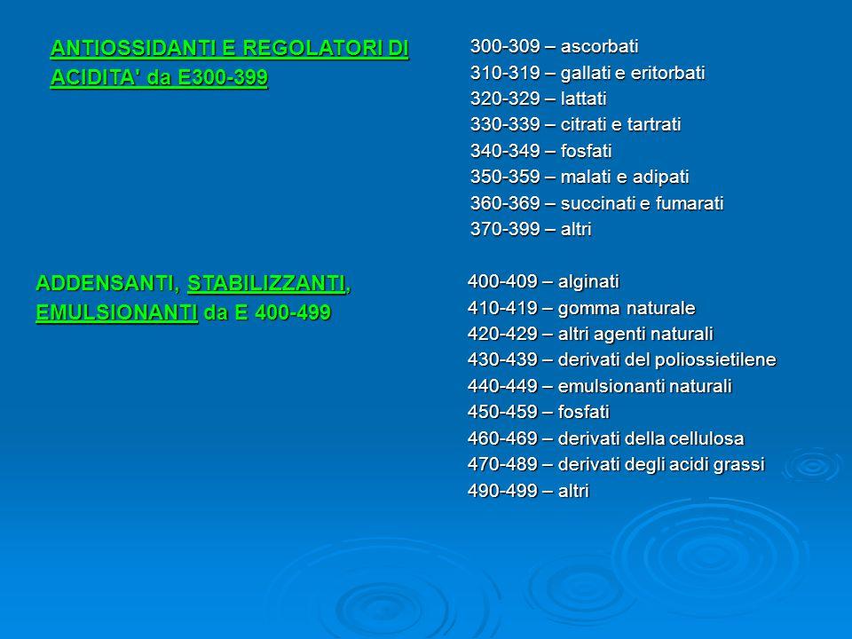 ANTIOSSIDANTI E REGOLATORI DI ACIDITA' da E300-399 300-309 – ascorbati 310-319 – gallati e eritorbati 320-329 – lattati 330-339 – citrati e tartrati 3