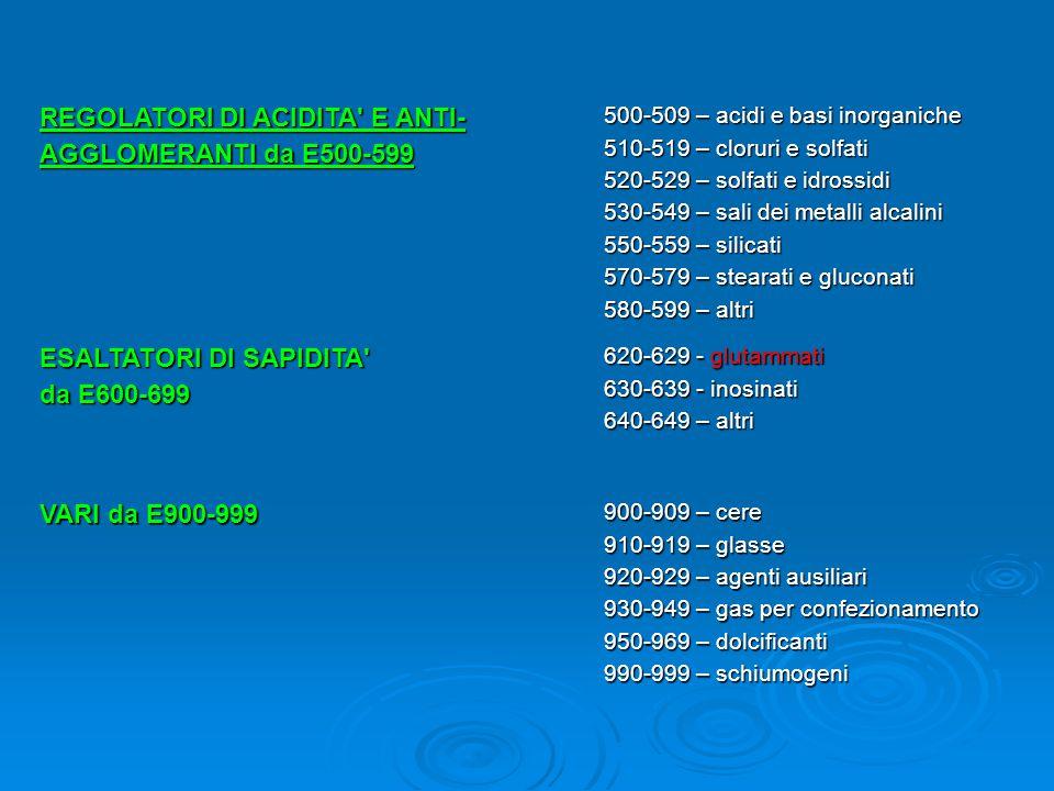 ESALTATORI DI SAPIDITA da E600-699 620-629 - glutammati 630-639 - inosinati 640-649 – altri VARI da E900-999 900-909 – cere 910-919 – glasse 920-929 – agenti ausiliari 930-949 – gas per confezionamento 950-969 – dolcificanti 990-999 – schiumogeni REGOLATORI DI ACIDITA E ANTI- AGGLOMERANTI da E500-599 500-509 – acidi e basi inorganiche 510-519 – cloruri e solfati 520-529 – solfati e idrossidi 530-549 – sali dei metalli alcalini 550-559 – silicati 570-579 – stearati e gluconati 580-599 – altri