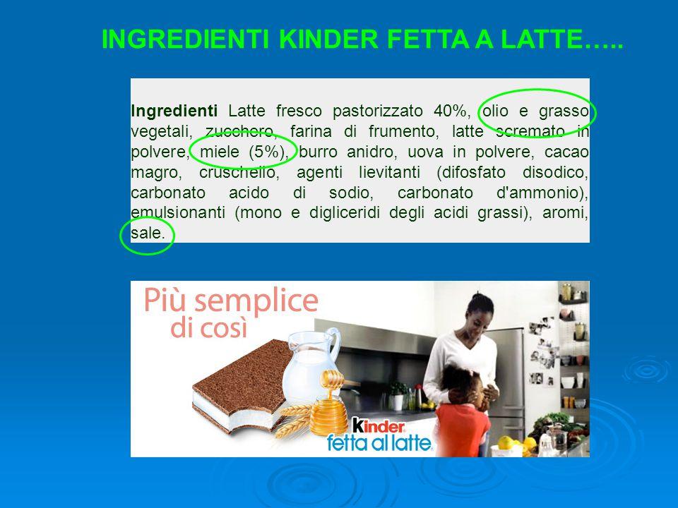 Ingredienti Latte fresco pastorizzato 40%, olio e grasso vegetali, zucchero, farina di frumento, latte scremato in polvere, miele (5%), burro anidro,