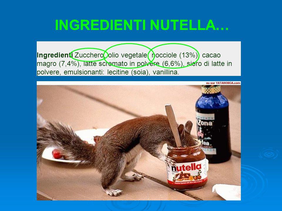 Ingredienti Zucchero, olio vegetale, nocciole (13%), cacao magro (7,4%), latte scremato in polvere (6,6%), siero di latte in polvere, emulsionanti: lecitine (soia), vanillina.