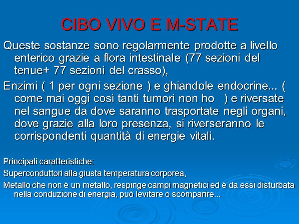 CIBO VIVO E M-STATE Queste sostanze sono regolarmente prodotte a livello enterico grazie a flora intestinale (77 sezioni del tenue+ 77 sezioni del crasso), Enzimi ( 1 per ogni sezione ) e ghiandole endocrine...