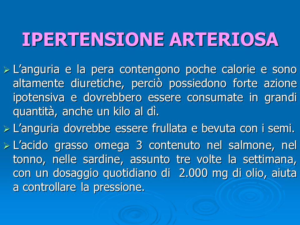  L'anguria e la pera contengono poche calorie e sono altamente diuretiche, perciò possiedono forte azione ipotensiva e dovrebbero essere consumate in grandi quantità, anche un kilo al dì.