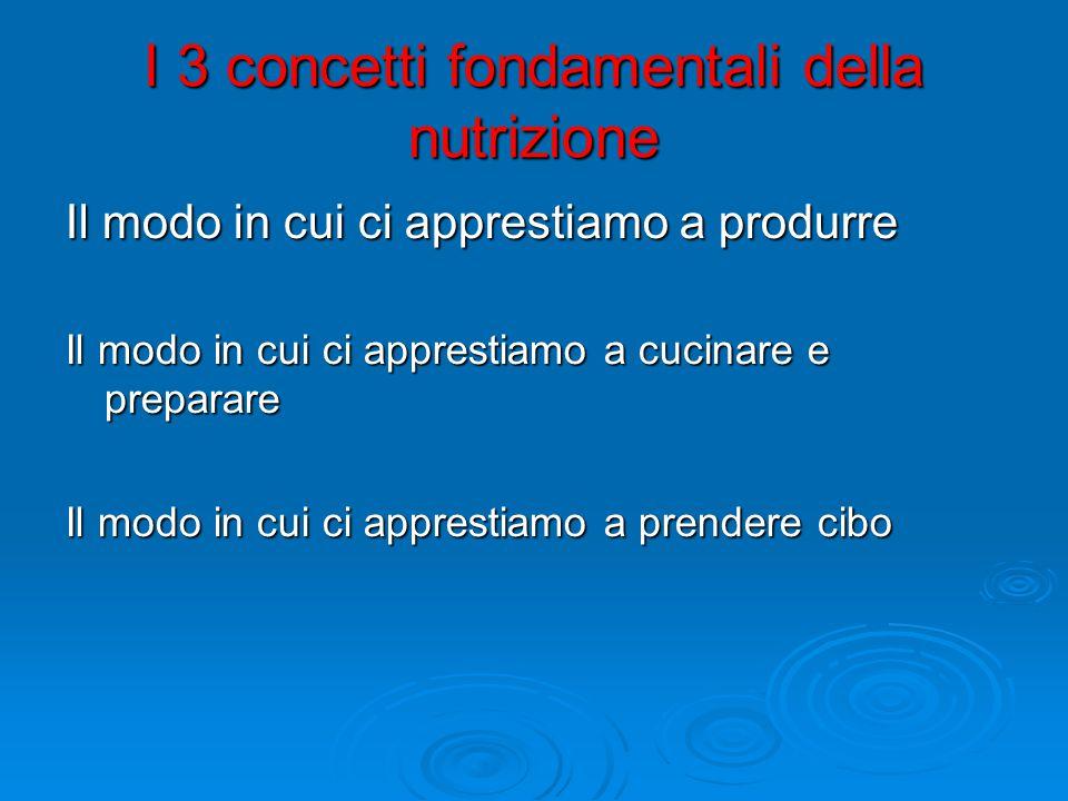 I 3 concetti fondamentali della nutrizione Il modo in cui ci apprestiamo a produrre Il modo in cui ci apprestiamo a cucinare e preparare Il modo in cui ci apprestiamo a prendere cibo