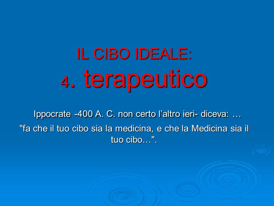 IL CIBO IDEALE: 4. terapeutico Ippocrate -400 A. C.