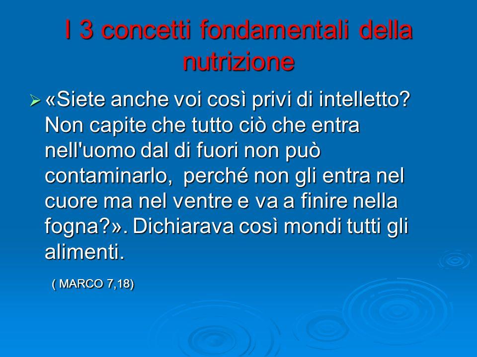 I 3 concetti fondamentali della nutrizione  «Siete anche voi così privi di intelletto.