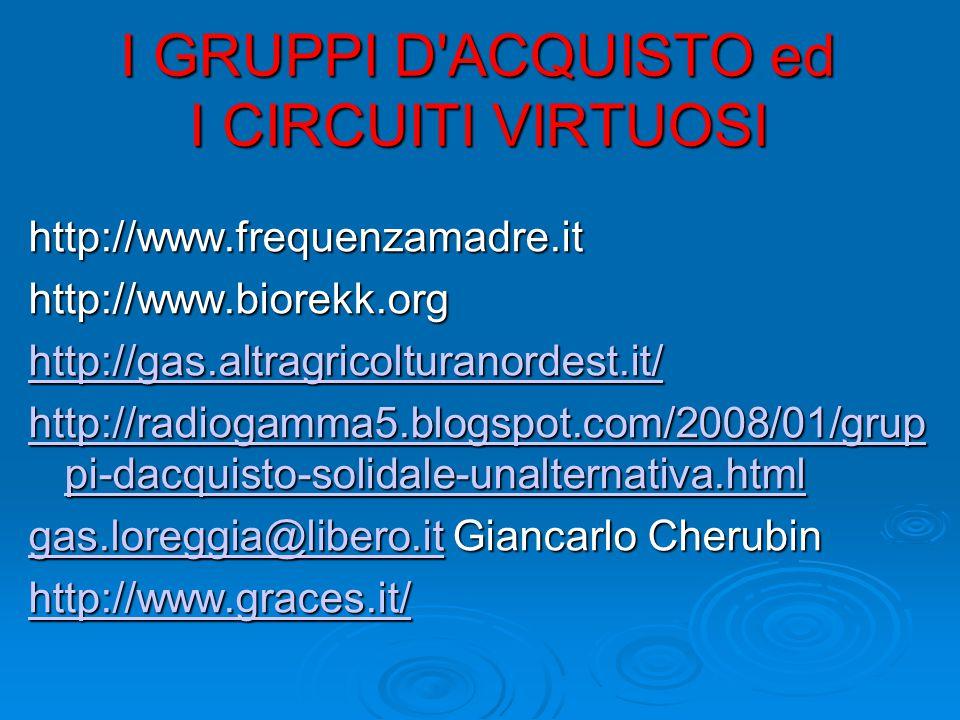 I GRUPPI D ACQUISTO ed I CIRCUITI VIRTUOSI http://www.frequenzamadre.ithttp://www.biorekk.org http://gas.altragricolturanordest.it/ http://radiogamma5.blogspot.com/2008/01/grup pi-dacquisto-solidale-unalternativa.html http://radiogamma5.blogspot.com/2008/01/grup pi-dacquisto-solidale-unalternativa.html gas.loreggia@libero.itgas.loreggia@libero.it Giancarlo Cherubin gas.loreggia@libero.it http://www.graces.it/