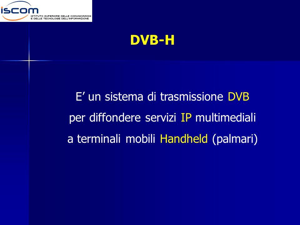 DVB-H E' un sistema di trasmissione DVB per diffondere servizi IP multimediali a terminali mobili Handheld (palmari)