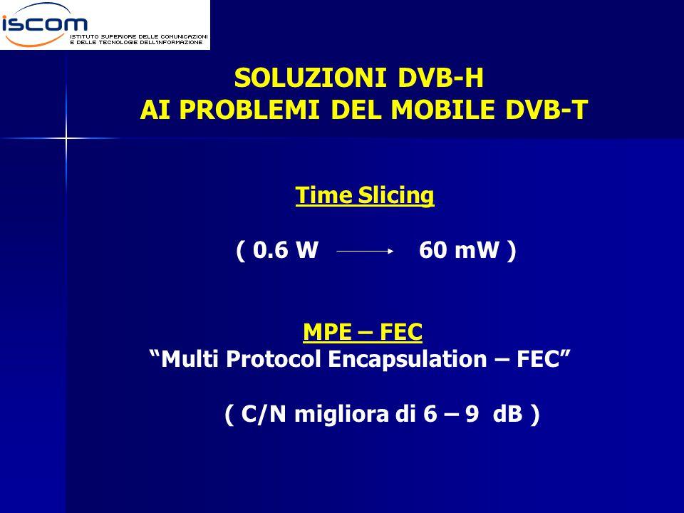 Time Slicing ( 0.6 W 60 mW ) MPE – FEC Multi Protocol Encapsulation – FEC ( C/N migliora di 6 – 9 dB ) SOLUZIONI DVB-H AI PROBLEMI DEL MOBILE DVB-T