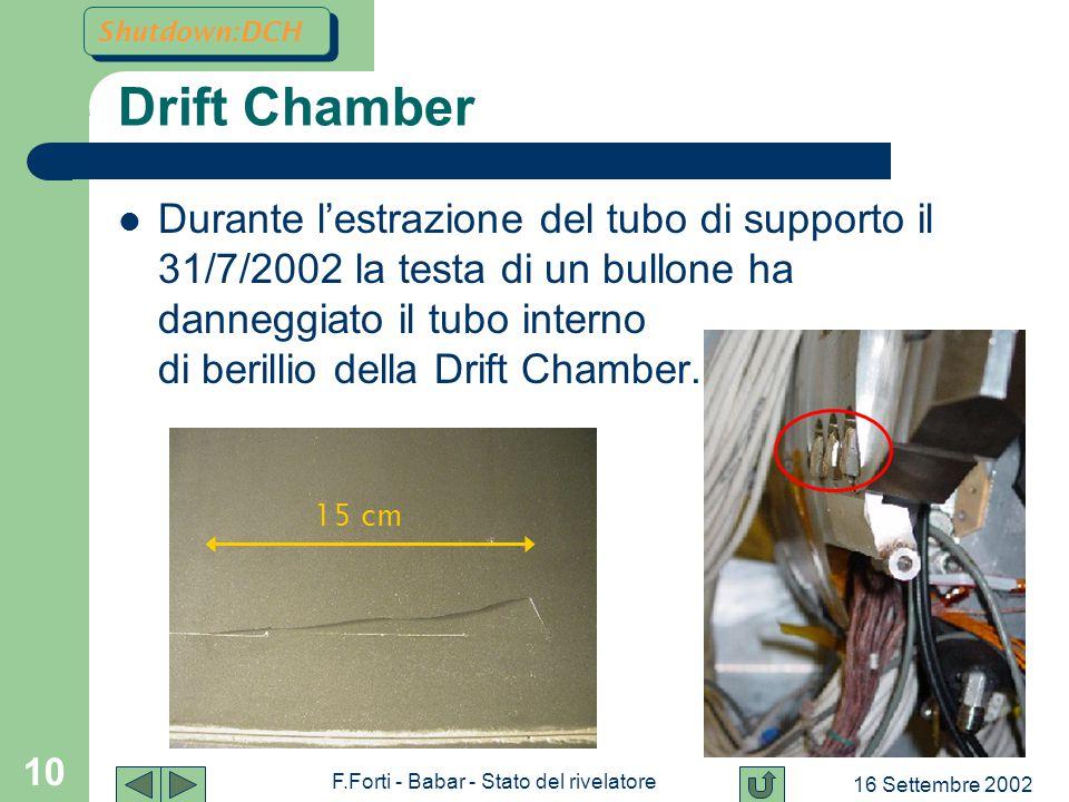16 Settembre 2002 F.Forti - Babar - Stato del rivelatore 10 Drift Chamber Durante l'estrazione del tubo di supporto il 31/7/2002 la testa di un bullone ha danneggiato il tubo interno di berillio della Drift Chamber.