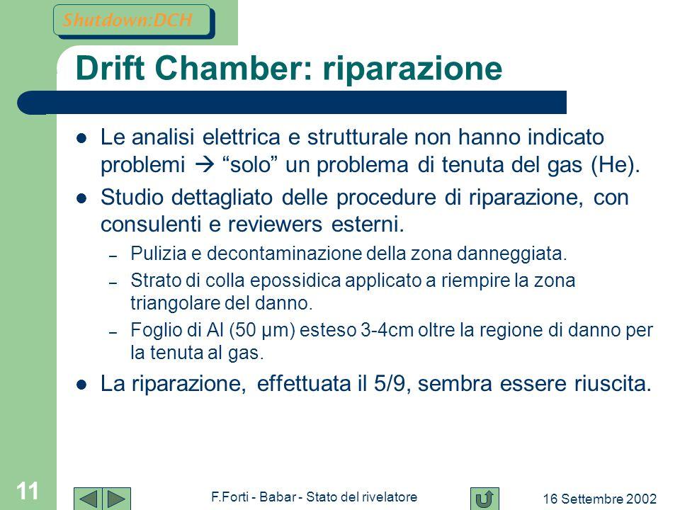 16 Settembre 2002 F.Forti - Babar - Stato del rivelatore 11 Drift Chamber: riparazione Le analisi elettrica e strutturale non hanno indicato problemi  solo un problema di tenuta del gas (He).