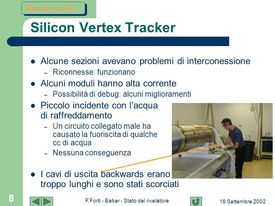 16 Settembre 2002 F.Forti - Babar - Stato del rivelatore 29 Luminosità Present plan Near-Term B1 option LER Vacuum system limit :Upgrades:PEP