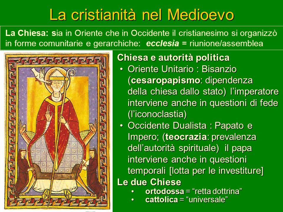 La cristianità nel Medioevo Chiesa e autorità politica Oriente Unitario : Bisanzio (cesaropapismo: dipendenza della chiesa dallo stato) l'imperatore i