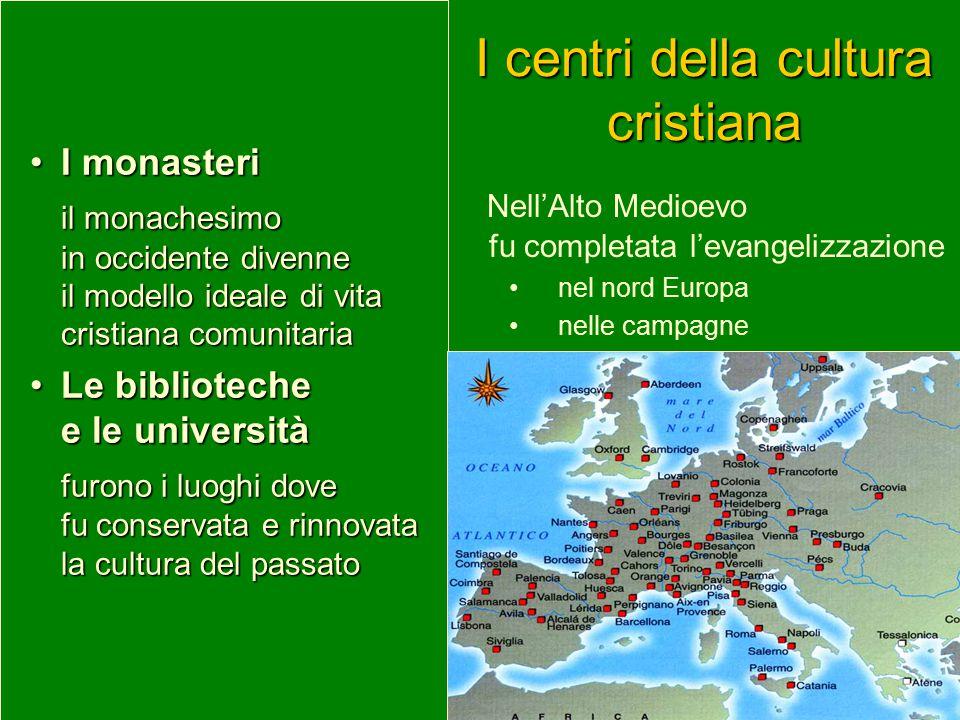 Nell'Alto Medioevo fu completata l'evangelizzazione nel nord Europa nelle campagne I centri della cultura cristiana I monasteriI monasteri il monaches